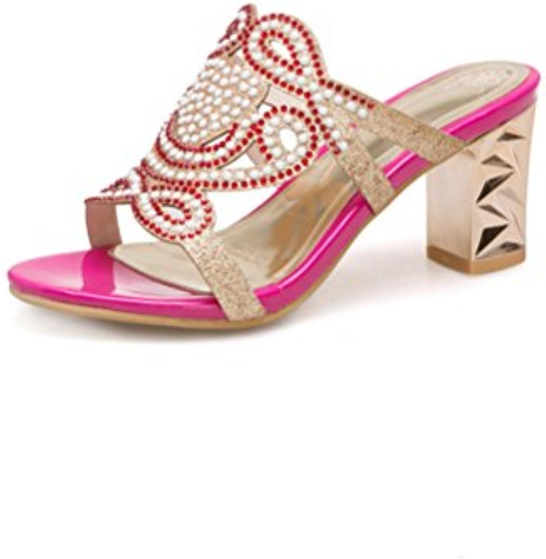 Women Sexy Strass Slide Sandalen Offenen Zehen Slip auf rohen Ferse Maultiere Casual Pumps Dress Shoes