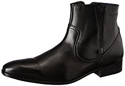 Hush Puppies Mens Elan Boot Black Leather Trekking and Hiking Boots - 8 UK/India (42 EU)(8046902)