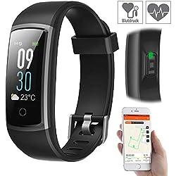 newgen medicals Fitnesstracker: Fitness-Armband mit Puls- & Blutdruck-Anzeige, App, Farb-Display, IP68 (Fitnessarmbanduhr)