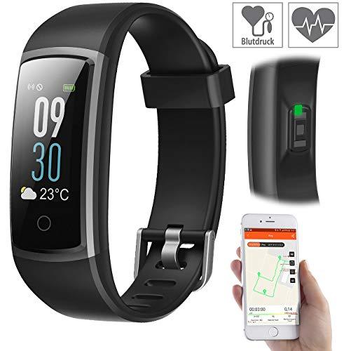 newgen medicals Pulsmesser: Fitness-Armband mit Puls- & Blutdruck-Anzeige, App, Farb-Display, IP68 (Smartwatch Blutdruck)