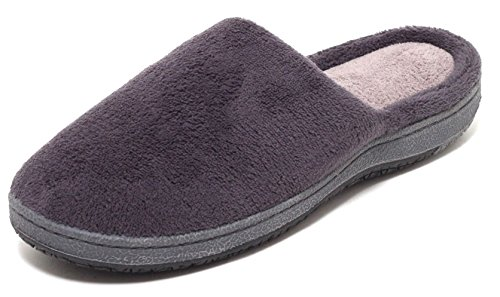 UNISEX Damen Herren Wellness Soft Hausschuhe Gr. 39-45 Pantoletten Pantoffeln Puschen Slipper Komfort Schuhe Bequemschuhe feste Sohle navy und grau Anthrazit