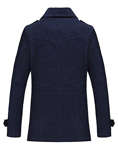 Vogstyle Herren Jungen Langarm Cabanjacke Reverskragen Trenchcoat Mantel Kurzmantel Einreihig Jack Anzug Stile-1 Blu