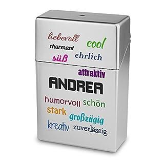 Zigarettenbox mit Namen Andrea - Personalisierte Hülle mit Design Positive Eigenschaften - Zigarettenetui, Zigarettenschachtel, Kunststoffbox