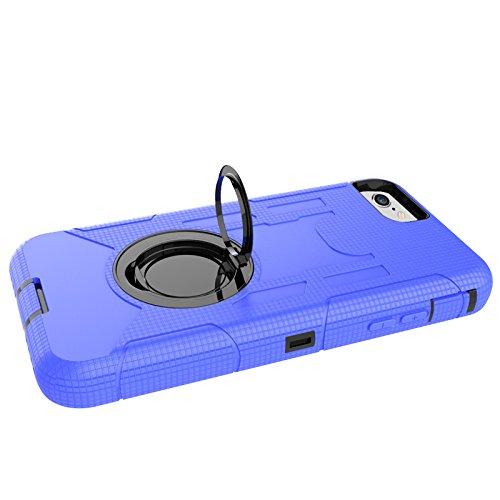 iPhone 8 Hülle, Heavy Duty Harte Rüstung Anti-Kratzer PU Silikon Handyhülle mit Ring Ständer / Kickstand Stoßfest Etui Shockproof Case Cover Kompletter Schutz Tasche Schutzhülle für Apple iPhone 8 (Ro Tiefblau