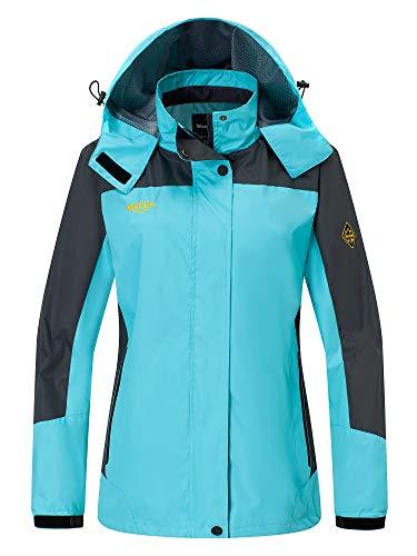 Wantdo Damen Winddicht Wanderjacke Sport Regenjacke mit Kapuze Hellblau Medium