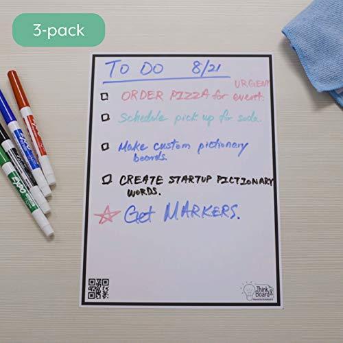 Think Board X Rocketbook Smart Stick-Up Whiteboard - 600 x 900 mm - Verwandeln Sie Jede Oberfläche in Ein Whiteboard - Verwenden Sie Die Rocketbook-App, um Notizen in Die Cloud hochzuladen -