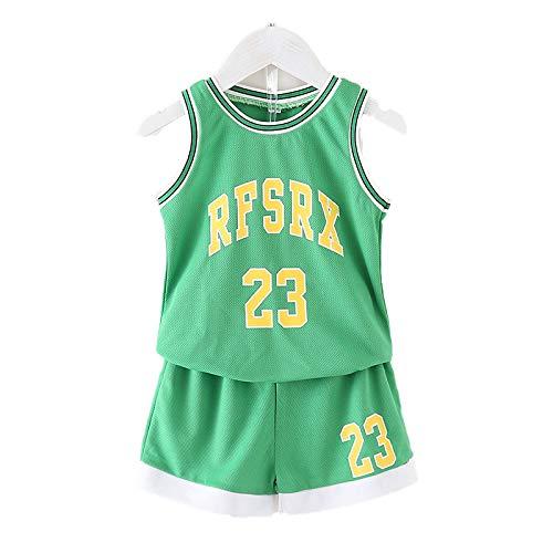 KKSY Basketball Trikot Kinder-NBA-Trikotset - Basketballhemd Weste Sommer-Shorts für Jungen und Mädchen Geeignet für schulisches Leistungstraining,Green,90