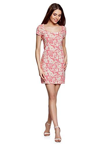 oodji Ultra Damen Enges Jersey-Kleid, Rosa, DE 36 / EU 38 / S