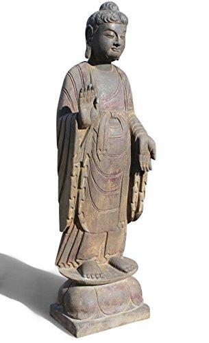 Asien LifeStyle Garten Buddha Statue aus Naturstein, China, Steinfigur, Schutz