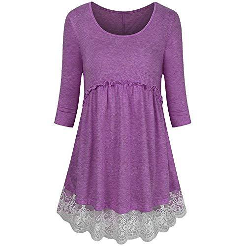 MEIbax Damen Plus Größe 3/4 Ärmel Reich Taille Spicing Tunika Pullover Tops Shirt Bluse Pullover...
