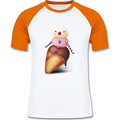 Statement Shirts - Eiscreme Schneemann - zweifarbiges Baseballshirt für Männer Weiß/Orange
