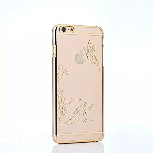 iPhone 5 Hülle,iPhone 5S Hülle,iPhone SE Hülle,EMAXELERS Hard PC Case Phone Holster Transparent Handy-Tasche Hülle für Apple iPhone 5/5S/SE Hülle Löwenzahn Pattern Etui Schlank Fest Hülle Diamond Blin Goldschmetterling