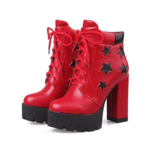 VogueZone009 Damen Hoher Absatz Plattform Weiches Material Niedrig-Spitze Schnüren Stiefel, Rot, 34