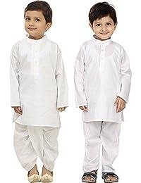 FOCIL Combo of White Solid Dhoti Kurta & Kurta Pyjama Set For Kids (Pack of 2)