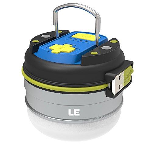 LE Campinglampe USB Wiederaufladbar 280lm/ 3000mAh Powerbank led laterne 3 leuchtstufen IPX4 wasserdicht mini Arbeitsleuchte mit Magnet weiche helle Notlaterne