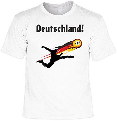 EM SET - T-Shirt mit Kappe: Deutschland - Fußballmotiv - Für alle Fußballfans Weiß
