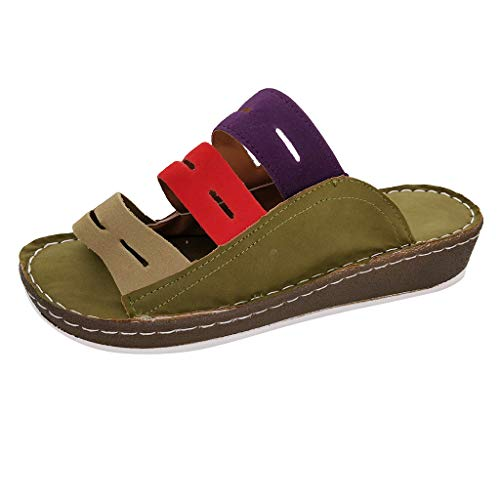 Veyikdg - Pantofole da Donna con Zeppa Piatta, Aperte sul Davanti, comode, alla Moda, per Ragazze e Studenti, con Punta Rotonda, Verde (Army Green), 42 2/3 EU