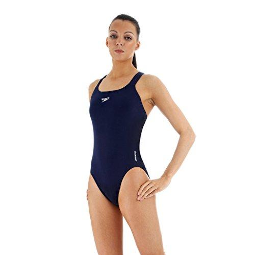 Speedo Damen Badeanzug Essential Endurance Plus Medalist, Navy, 32 (Einteiler Badeanzug Athletic)
