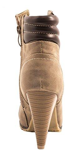 Elara Damen Stiefeletten | Stiefel Trichterabsatz | Lederoptik Kaki