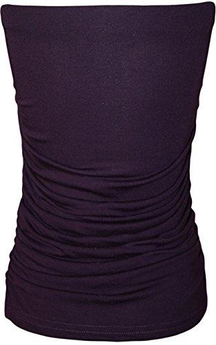 Frauen Plus Size Geraffte Seiten Plain Boobtube Oben Violett