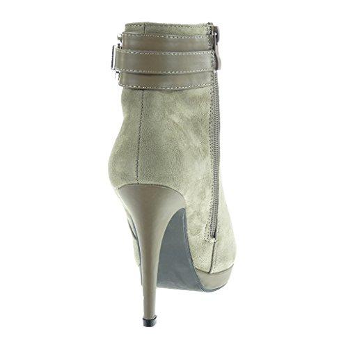Angkorly - damen Schuhe Stiefeletten - Plateauschuhe - Sexy - schick - String Tanga - golden - Schmuck Stiletto high heel 10.5 CM Khaki