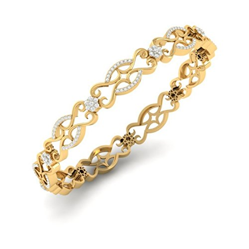 14K Or jaune, 2.92CT TW Round-cut-diamond (Ij  SI) Bangle-bracelets