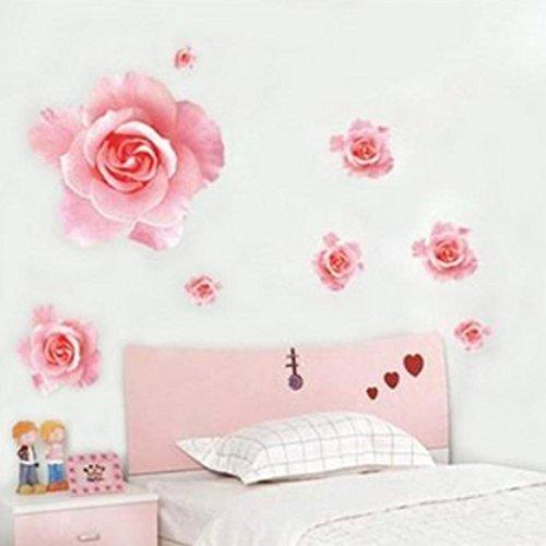 Blumen-wand (Ouneed® Wandaufkleber Wandtattoo Wandsticker , Wand-Aufkleber 3D Rosa Rosen Blumen entfernbares Ausgangsdekor Abziehbild)