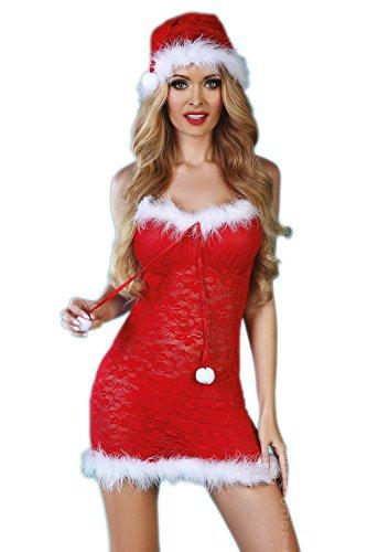 Livia Corsetti Livco edles 3-teiliges Dessous-Weihnachts-Set aus sanftem Spitzen-Negligee, String und Weihnachtsmütze, rot/weiß, Gr. S/M