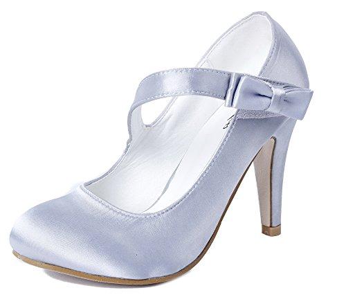 Ageemi shoes donna punta tonda chiusa scarpe da sposa con tacco scarpe,eud41 argento 39