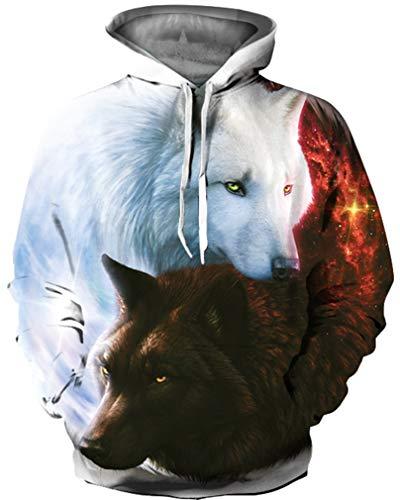 Ocean Plus Jungen 3D Kapuzenpullover Spaß Sweatshirt Hoodie mit Kängurutasche Sportlich Digitaldruck Pullover mit Kapuze (L (Körpergröße: 125-135cm), Engel und Teufel Wölfe)