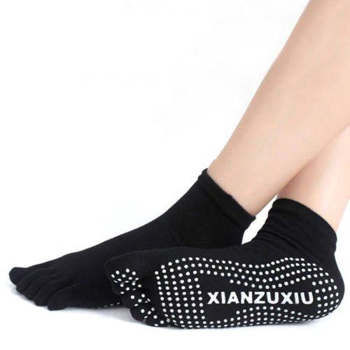 Aquiver - calzini da donna per ginnastica o yoga, in cotone, antiscivolo, con dita, massaggianti, nero