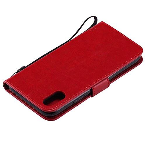 Cover iPhone 7/8 Custodia Marrone pelle PU fondina Ultra Sottile capovolgere Portafoglio Fessura per carta di credito Funzione Stent goffratura Albero e gatti design Chiusura Magnetica custodia protet Rosso