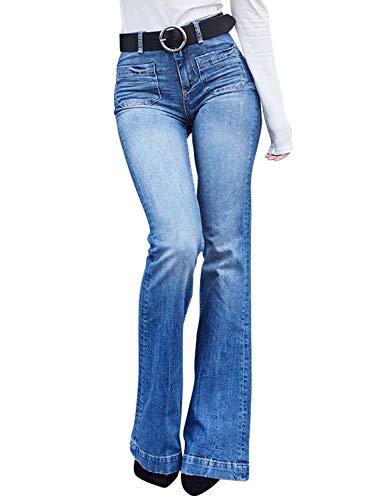 Aleumdr Mujer Pantalones Largos Slim fit Vaqueros Retros Vaqueros Casuales para Mujer Azul Size S
