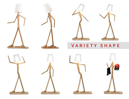 KKG� Floor Lamps Modern Standing Lights, Wooden Nordic Style Creative Home Decoration 1.6m Tall LED Indoor Lamp with Variety Character Adjustable Shapes for Reading/Living Room/Bedroom