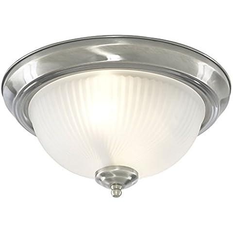 Searchlight 4042 Plafoniera da bagno con vetro opaco a coste, colore: Argento satinato