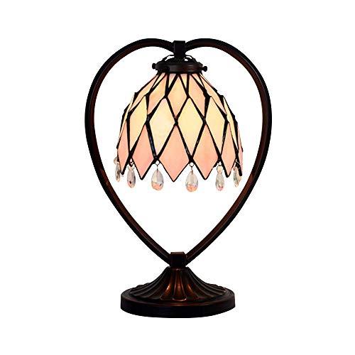ZHANG NAN ● * 7 Zoll Tiffany-Art-Rosa-Herz-geformte Tischlampe europäische minimalistische kreative Glaslampen Wohnzimmer Schlafzimmer Bedside Study Porch Villa Fixture 220 / 240W A +++ ●