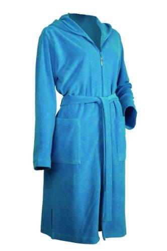 Möve Leichter Kapuzenmantel Serie Homewear Größe XS, weiß Blau