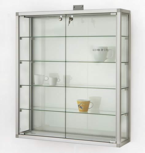 MHN - Vetrinetta pensile in Vetro Illuminato, chiudibile, in Alluminio, per Collezionisti Larghezza 80 cm, Altezza 90 cm - 2 Porte - Profilo Quadrato - Parete Posteriore in Legno Grigio
