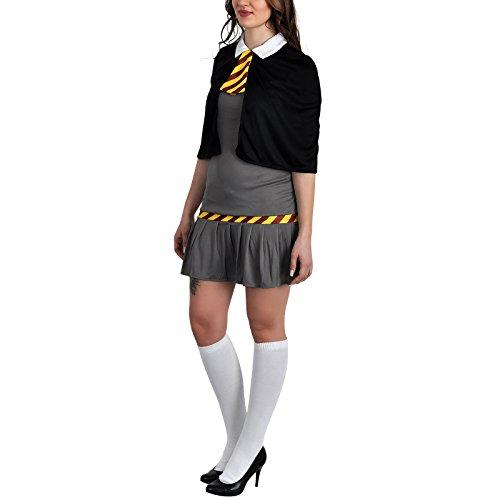 Zauberschülerin Schuluniform Damen Kostüm schwarz grau Kleid mit Cape für Harry Potter Fans - (Halloween Kostüme Phoenix)