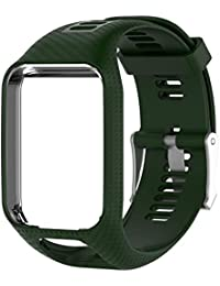 BESTVECH Men's Silicone Watchband Frame Quick Release Straps Bands for TomTom Runner 2 (Army Green)