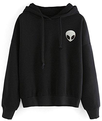 YuanYan Sweat-shirt Col Rond Imprimé Alien Manche Longue Manteau Top Manteau de Hoodie Noir1
