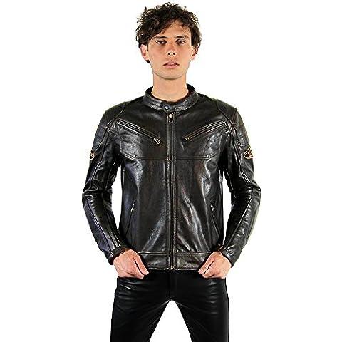 Tschul® 1990 Brown chaqueta de cuero para hombre cuero chaqueta de la motocicleta
