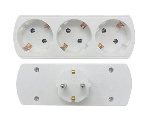 Multistecker 3 Bayram® Schuko - Doppelstecker Adapterstecker Schutzkontakt Verteiler Mehrfachstecker 3-fach Geprüft Sicherheit