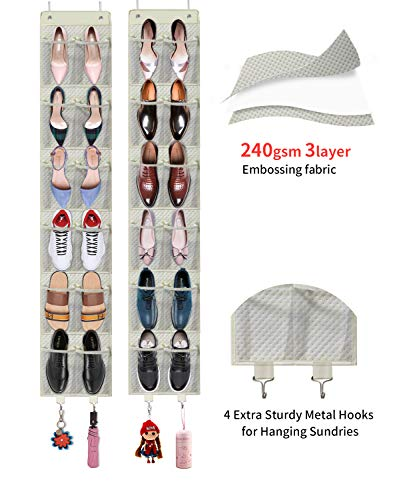 Homyfort organizzatore per armadio da porta (12 tasche set da 2) - organizzatore scarpette, portaoggetti in stoffa da appendere, stoccaggio raccolta scarpe, organizzatore borsa, beige, 7x3m12tp2