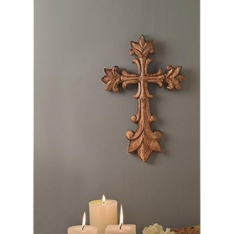 Store Indya, 15 X 10 Wooden Christian Cross Parete Con Rich Noce per l'ufficio e casa