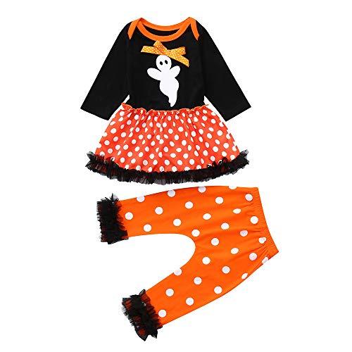Strampler Set, Marlene1988 Sparen90% Halloween Ghost Print Polka Dot Langarm Kleid Rock + Hose Baumwolle Bodysuit Frühling und Herbst Romper Ghost-jumpsuit