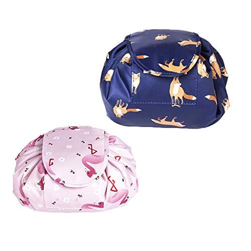 OrgaWise Kulturbeutel Frauen Kosmetiktasche Klein Kulturtasche Damen Make-up Tasche Wasserdichter Travel Cosmetic Bag mit Tunnelzug (2pcs)