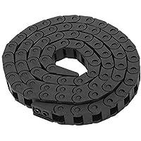 Cadena de arrastre, cable de remolque de nylon 7 x 7 mm Cadena de arrastre de cable de nylon tipo puente negro para máquinas herramienta CNC de impresora 3D, hecha de nylon reforzado PA66