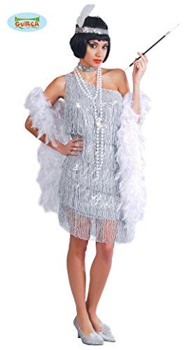 silbernes Charleston Kleid Karneval 20er Jahre Party Kostüm Fransen Damen Gr.S - L, Größe:L