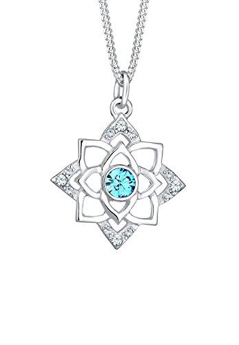 Elli Damen-Kette mit Anhänger Ornament Lotusblume 925 Silber türkis Rundschliff Kristall 45 cm - 0101642417_45